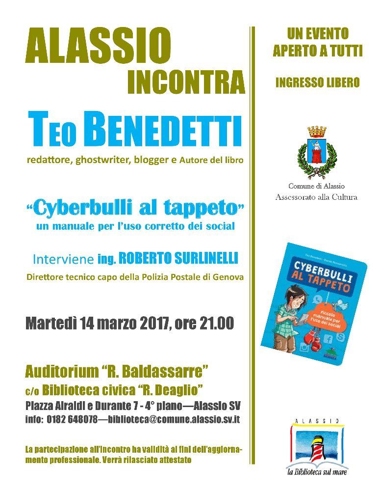 Cyberbullismo, Alassio incontra l'autore Teo Benedetti