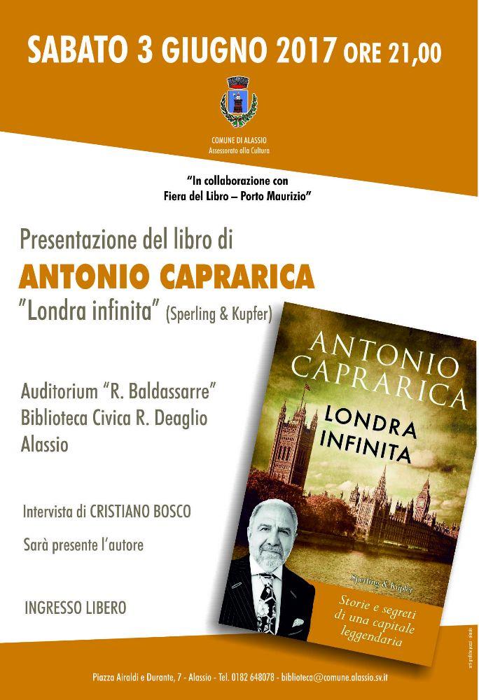 """Antonio Caprarica ospite di Alassio per presentare """"Londra infinita"""""""