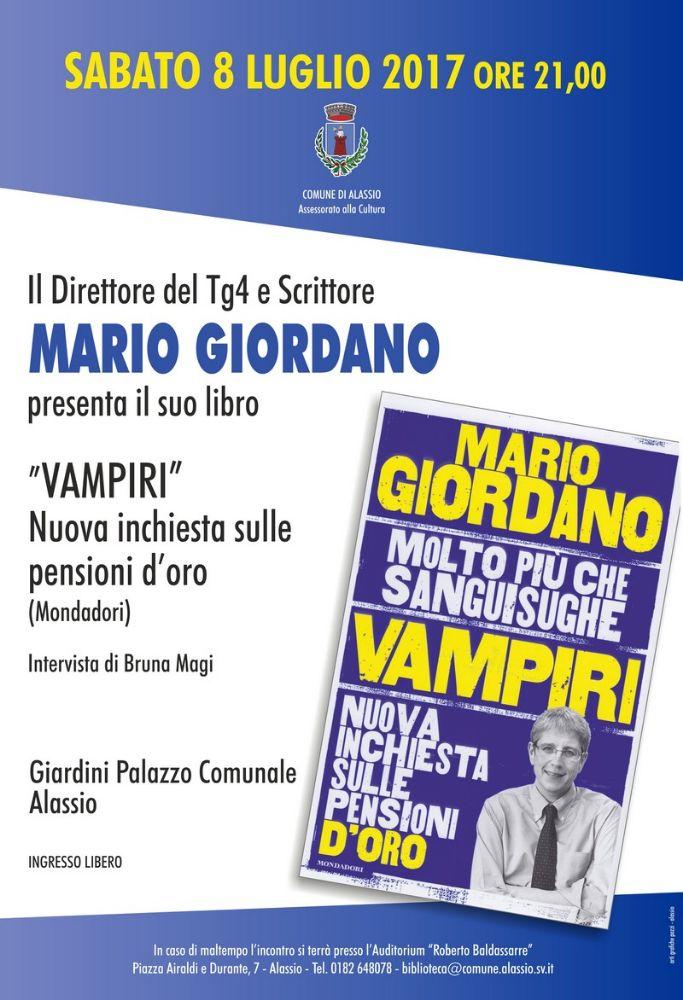 """Mario Giordano torna ad Alassio per presentare """"Vampiri"""""""